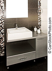 Black lavatory - Lavatory with black tiles and modern...