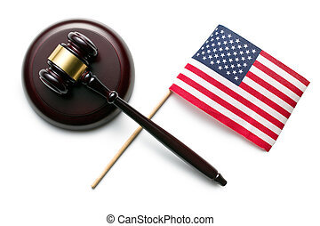 judge gavel with american flag