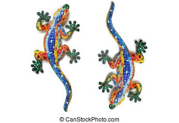 Two colorful lizard - Mosaic lizards isolated on white...