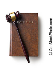 judge gavel on holy bible - top view of judge gavel on holy...