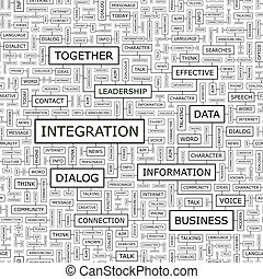 INTEGRATION. Seamless pattern. Word cloud illustration.