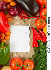 empty paper note with vegetables - blank ruled paper note...