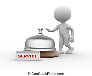 Service - 3d people - men, person and a service bell....