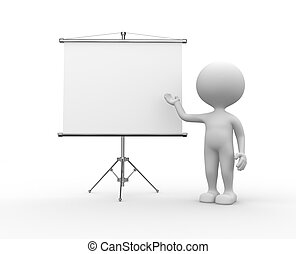 Blank flip chart - 3d people - men, person and a flip chart