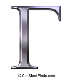 3D Silver Greek Letter Gamma - 3d silver Greek letter Gamma...