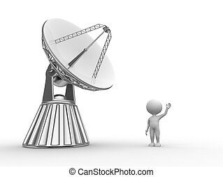 Satellite - 3d people - man, person with a parabolic dish (...