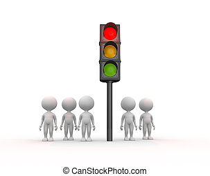 Traffic light - 3d people - men, person and traffic light
