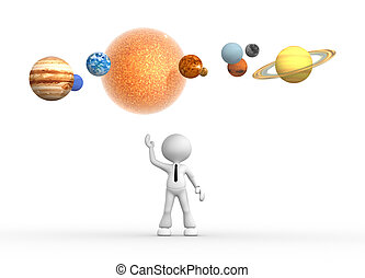 Solar system - 3d people - man, person with solar system