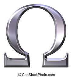 3D Silver Greek Letter Omega - 3d silver Greek letter Omega...