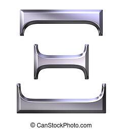 3D Silver Greek Letter Xi