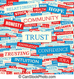 TRUST Seamless pattern Concept related words in tag cloud...