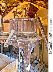 Old traditional watermill interior view, Croatia