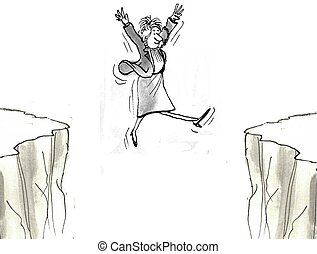 Woman executive leaps across chasm - Woman executive takes a...