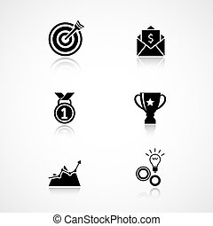Goal achievement icons set of trophy medal and motivation...