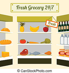 Fresh grocery foods on store shelves - Fresh grocery foods...