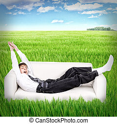 Teenager awake in the Field - Conceptual photo of Teenager...