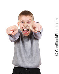 Boy Pointing - Boy pointing and Laughing. Isolated on the...