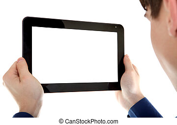Person with Tablet Computer - Young Man holding Tablet...