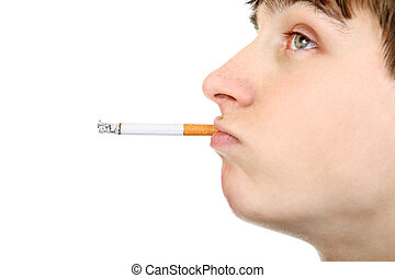 Teenager with Cigarette - Side view of Teenage Face with...