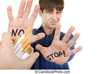 Teenager refuses Cigarette Isolated on the White Background
