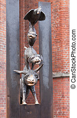 monument of Bremen Town Musicians is situated in the Riga,...
