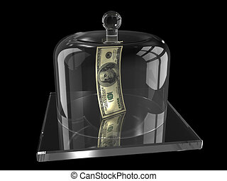 Dollars under the glass cover - There is one hundred dollars...