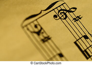 Macro of music score for background - Close up of piano...