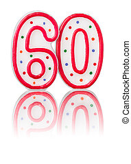 Red number 60 with reflection
