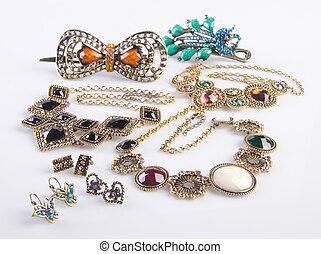 jewelry collection. jewelry collection on background -...