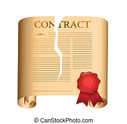 breaking a contract. illustration design over a white...