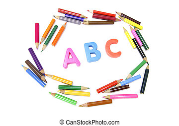 Color Pencils and Alphabets on White Background
