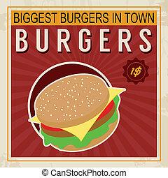 Burgers vintage poster - Biggest Burgers in Town vintage...