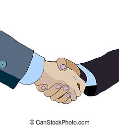 Partnership. Handshake business people. Vector illustration.