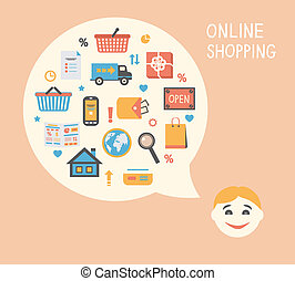 Online shopping innovation idea with happy satisfied...