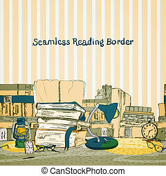 Seamless books reading border with book stacks in yellow...