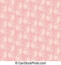 pink texture with berry and flower silhouette