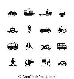 Transportation pictograms collection of tanker container...