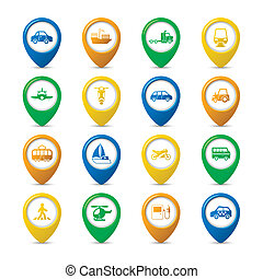 Navigation pins set - Transportation vehicles navigation...