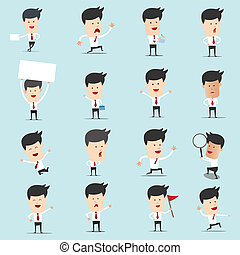 Set of cartoon businessman with many character for use in...
