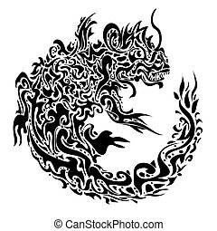 twisted dragon tattoo - stylized twisted dragon tattoo on a...