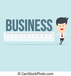 Business man user ruler measure