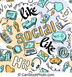 Seamless doodle social media pattern background vector...
