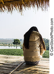 Thai woman At Cottage in tea plantation , Chiangrai Thailand