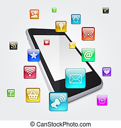 Smartphone and application icons. The concept of software