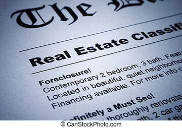 Real Estate ads on Newspaper - Closeup of real estate...