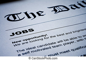 Jobs on Newspaper - Closeup of employment classified ads on...