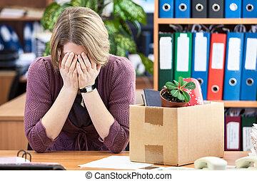 demitido, mulher, chorando, último, tempo, sentando,...