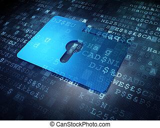 Business concept: Blue Folder With Keyhole on digital...