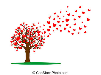 Tree and red hearts - vector illustration