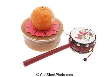 Mandarin, Tambourine, Chinese New Year Cake